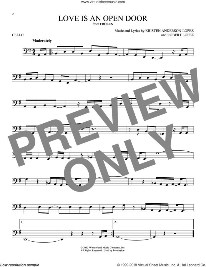 Love Is An Open Door (from Disney's Frozen) sheet music for cello solo by Kristen Bell & Santino Fontana, Kristen Anderson-Lopez and Robert Lopez, intermediate skill level