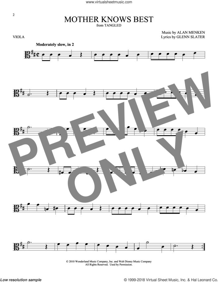 Mother Knows Best (from Disney's Tangled) sheet music for viola solo by Alan Menken and Glenn Slater, intermediate skill level