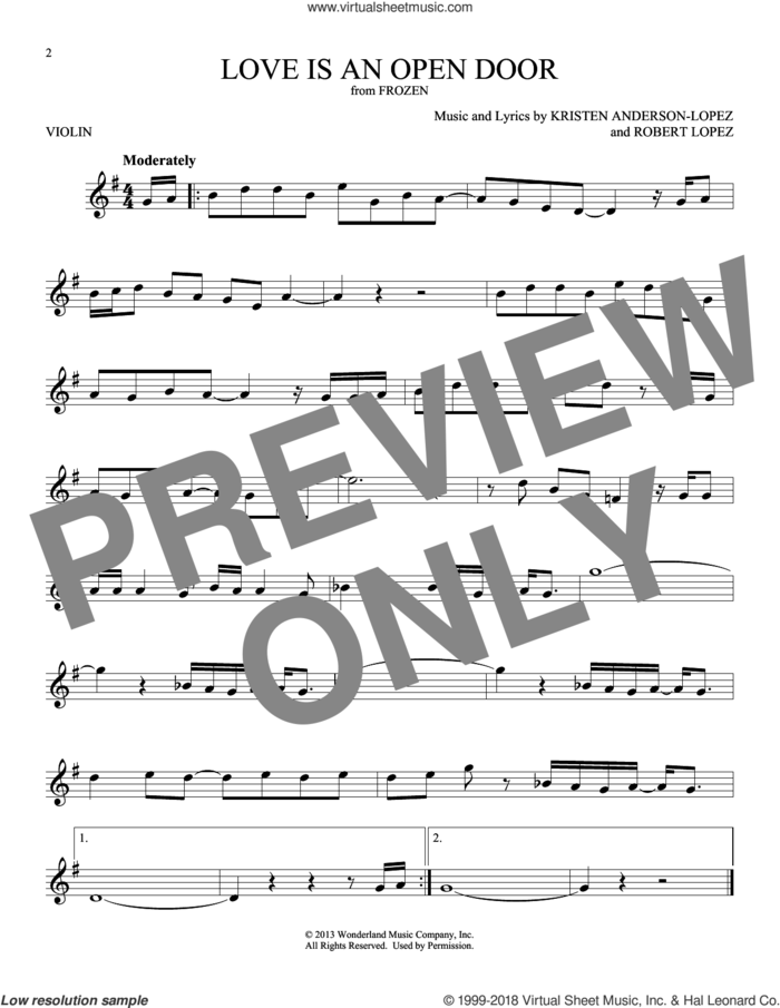 Love Is An Open Door (from Disney's Frozen) sheet music for violin solo by Kristen Bell & Santino Fontana, Kristen Anderson-Lopez and Robert Lopez, intermediate skill level