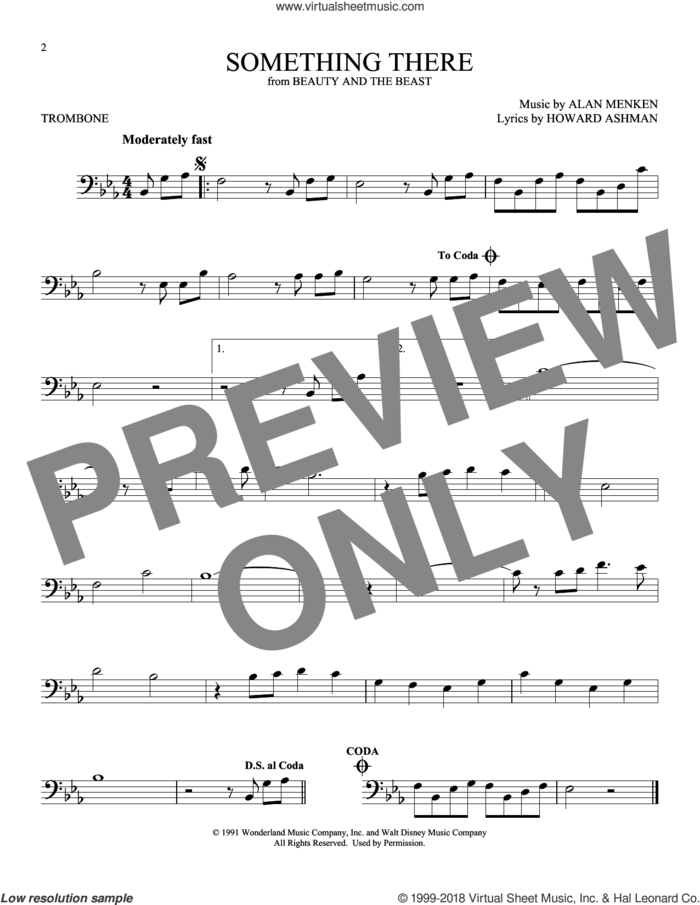 Something There (from Beauty And The Beast) sheet music for trombone solo by Howard Ashman and Alan Menken, intermediate skill level