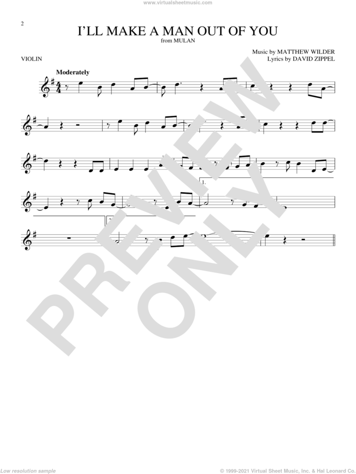 I'll Make A Man Out Of You (from Mulan) sheet music for violin solo by David Zippel and Matthew Wilder, intermediate skill level