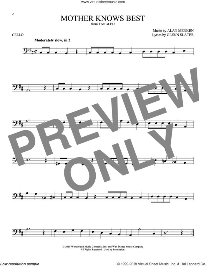 Mother Knows Best (from Disney's Tangled) sheet music for cello solo by Alan Menken and Glenn Slater, intermediate skill level