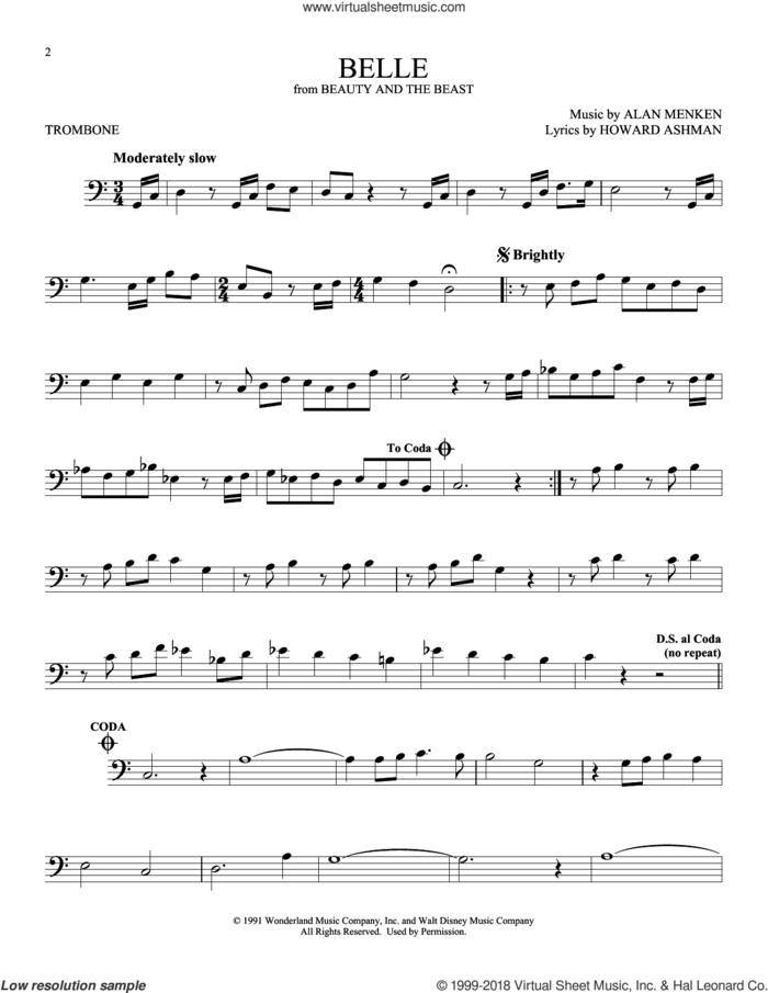 Belle (from Beauty And The Beast) sheet music for trombone solo by Alan Menken and Howard Ashman, intermediate skill level