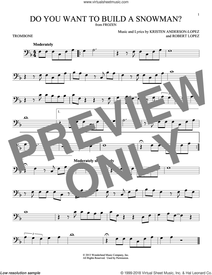 Do You Want To Build A Snowman? (from Disney's Frozen) sheet music for trombone solo by Kristen Bell, Agatha Lee Monn & Katie Lopez, Kristen Anderson-Lopez and Robert Lopez, intermediate skill level