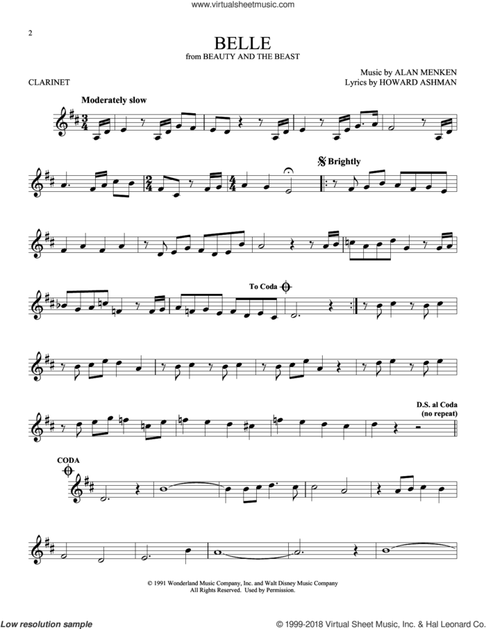Belle (from Beauty And The Beast) sheet music for clarinet solo by Alan Menken and Howard Ashman, intermediate skill level