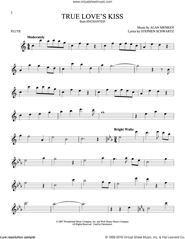 True Love's Kiss sheet music for flute solo by Alan Menken and Stephen Schwartz, intermediate skill level