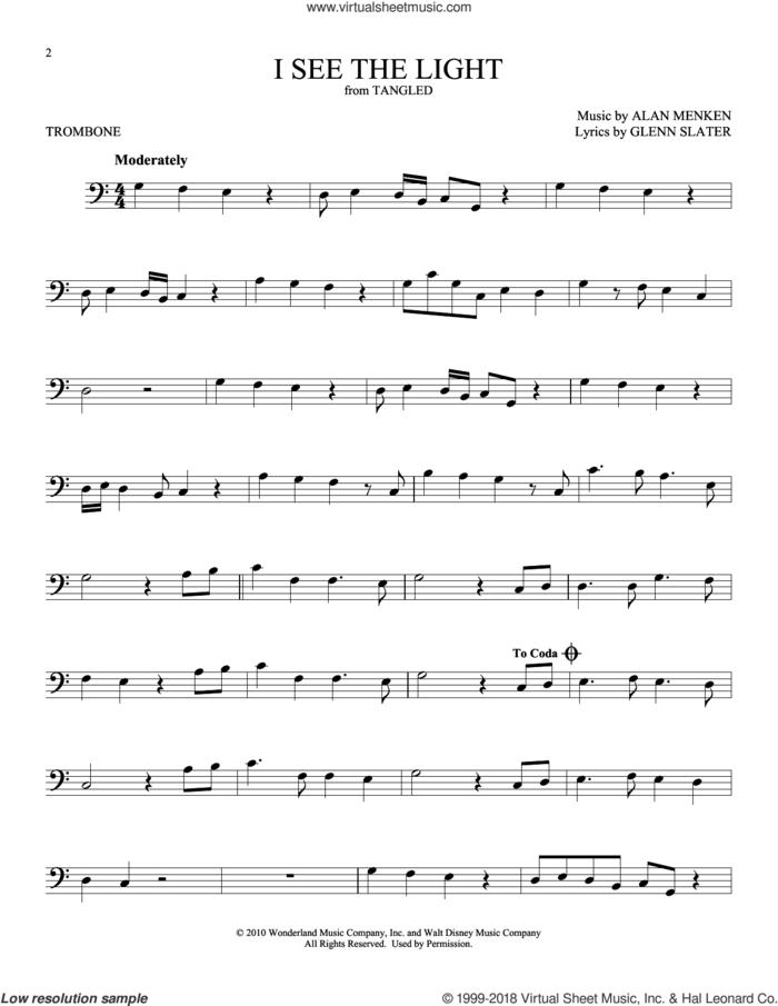 I See The Light (from Disney's Tangled) sheet music for trombone solo by Alan Menken and Glenn Slater, intermediate skill level