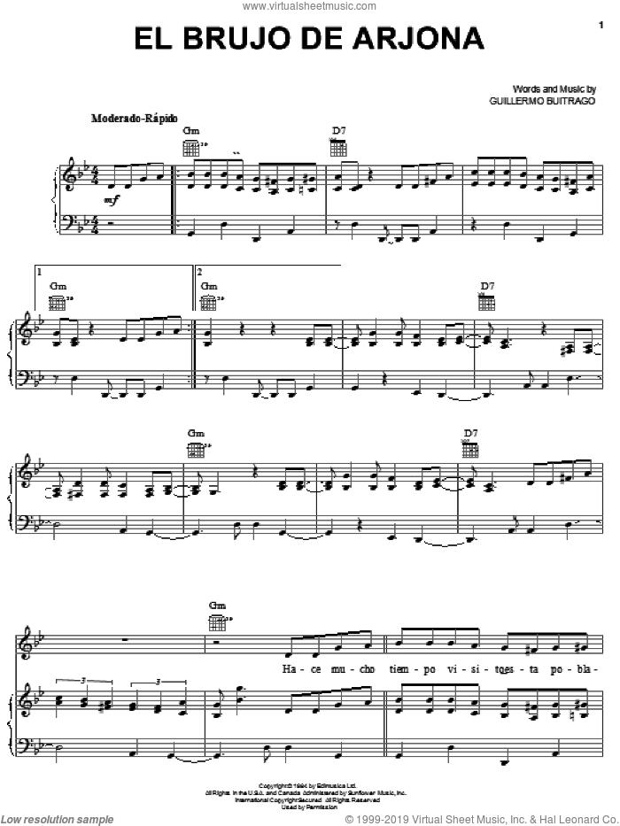 El Brujo De Arjona sheet music for voice, piano or guitar by Guillermo Buitrago, intermediate skill level