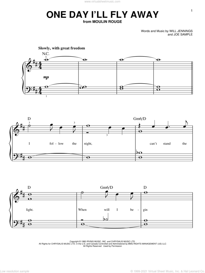 One Day I'll Fly Away sheet music for piano solo by Joe Sample and Will Jennings, beginner skill level