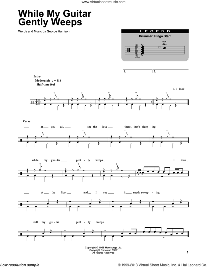 While My Guitar Gently Weeps sheet music for drums by The Beatles and George Harrison, intermediate skill level