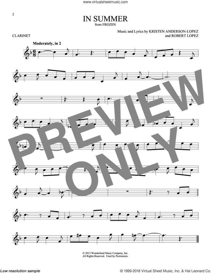 In Summer (from Disney's Frozen) sheet music for clarinet solo by Kristen Anderson-Lopez, Josh Gad and Robert Lopez, intermediate skill level
