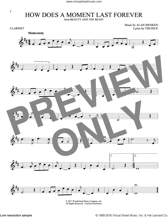 How Does A Moment Last Forever sheet music for clarinet solo by Alan Menken and Tim Rice, intermediate skill level