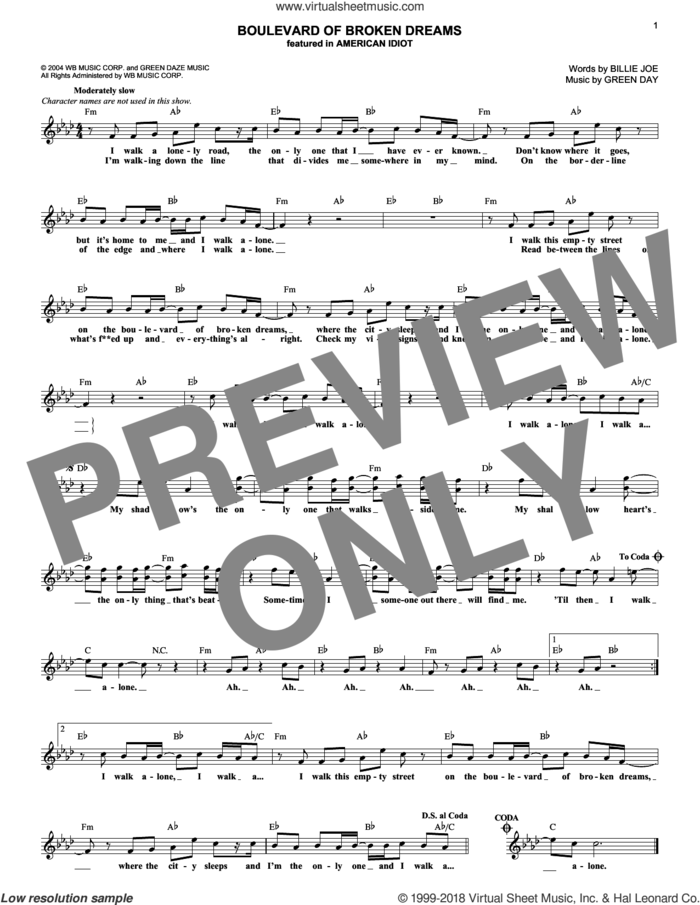 Boulevard Of Broken Dreams sheet music for voice and other instruments (fake book) by Green Day and Billie Joe, intermediate skill level