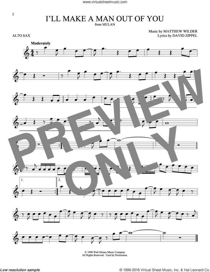I'll Make A Man Out Of You (from Mulan) sheet music for alto saxophone solo by David Zippel and Matthew Wilder, intermediate skill level