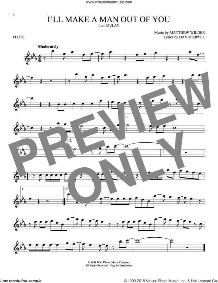 I'll Make A Man Out Of You (from Mulan) sheet music for flute solo by David Zippel and Matthew Wilder, intermediate skill level