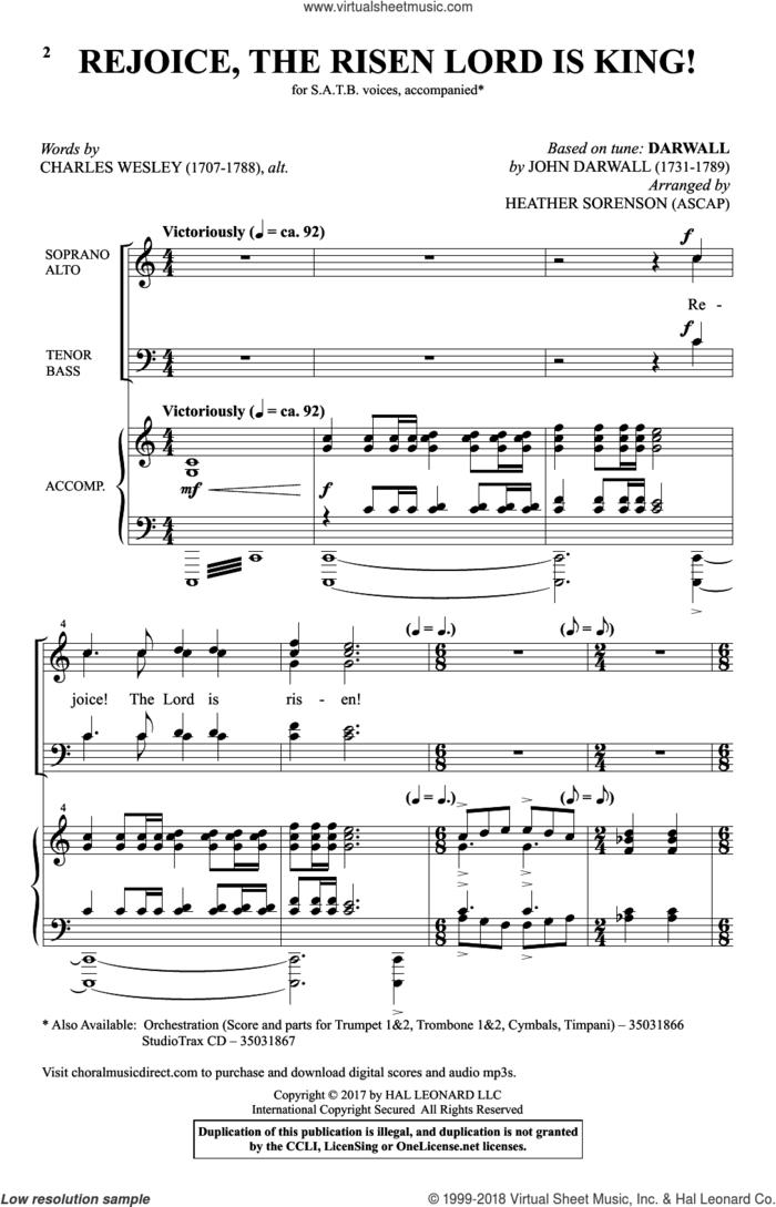 Rejoice, The Risen Lord Is King! sheet music for choir (SATB: soprano, alto, tenor, bass) by Charles Wesley, Heather Sorenson and John Darwall, intermediate skill level