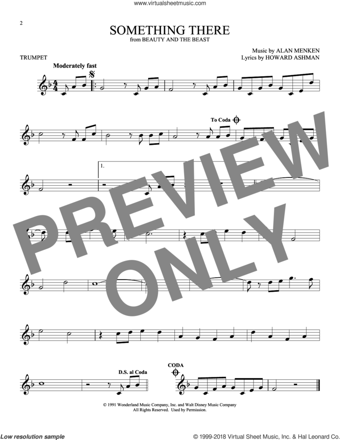 Something There (from Beauty And The Beast) sheet music for trumpet solo by Alan Menken and Howard Ashman, intermediate skill level