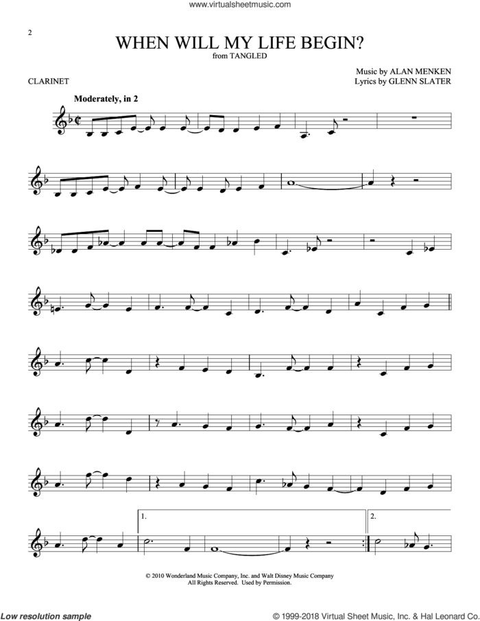 When Will My Life Begin? (from Disney's Tangled) sheet music for clarinet solo by Mandy Moore, Alan Menken and Glenn Slater, intermediate skill level