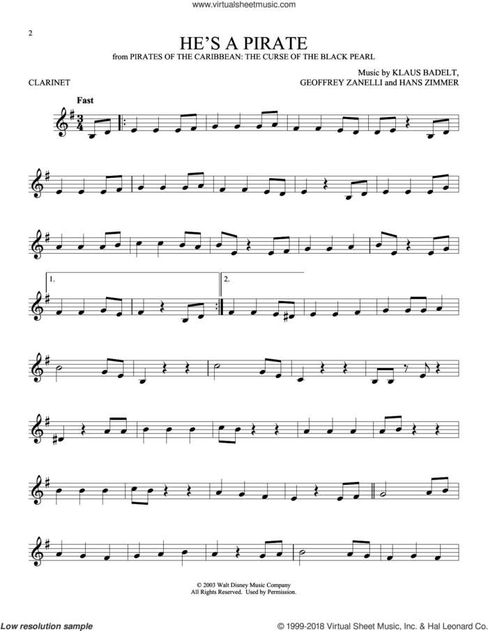He's A Pirate (from Pirates Of The Caribbean: The Curse of the Black Pearl) sheet music for clarinet solo by Hans Zimmer, Geoffrey Zanelli and Klaus Badelt, intermediate skill level