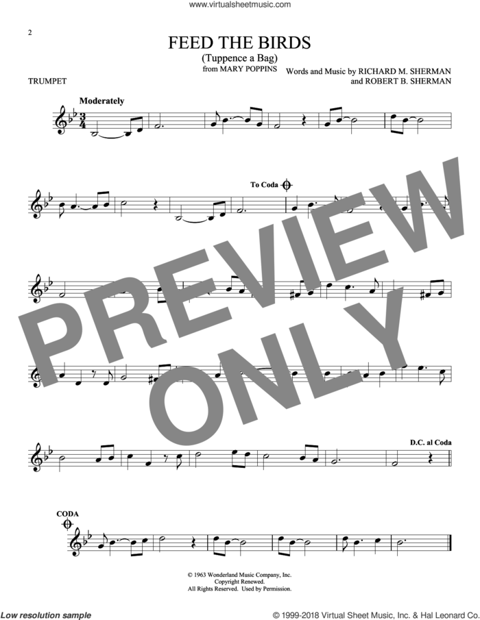 Feed The Birds (Tuppence A Bag) sheet music for trumpet solo by Richard M. Sherman and Robert B. Sherman, intermediate skill level