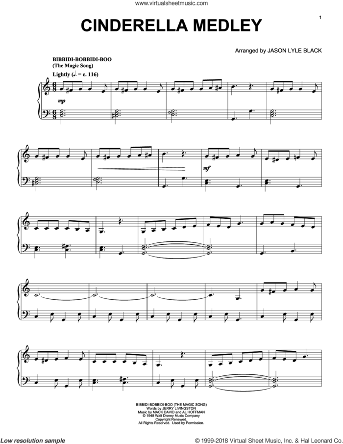 Cinderella Medley (arr. Jason Lyle Black) sheet music for piano solo by Al Hoffman, Jason Lyle Black, Jerry Livingston, Mack David and Mack David, Al Hoffman and Jerry Livingston, intermediate skill level