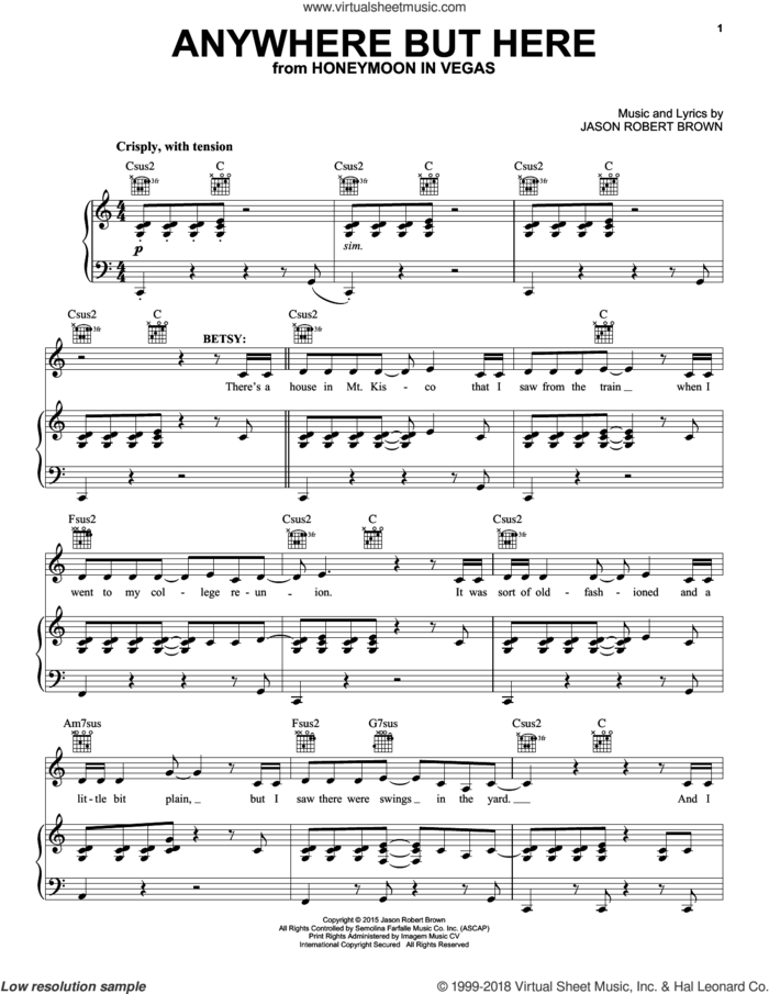 Anywhere But Here (from Honeymoon in Vegas) sheet music for voice, piano or guitar by Jason Robert Brown, intermediate skill level