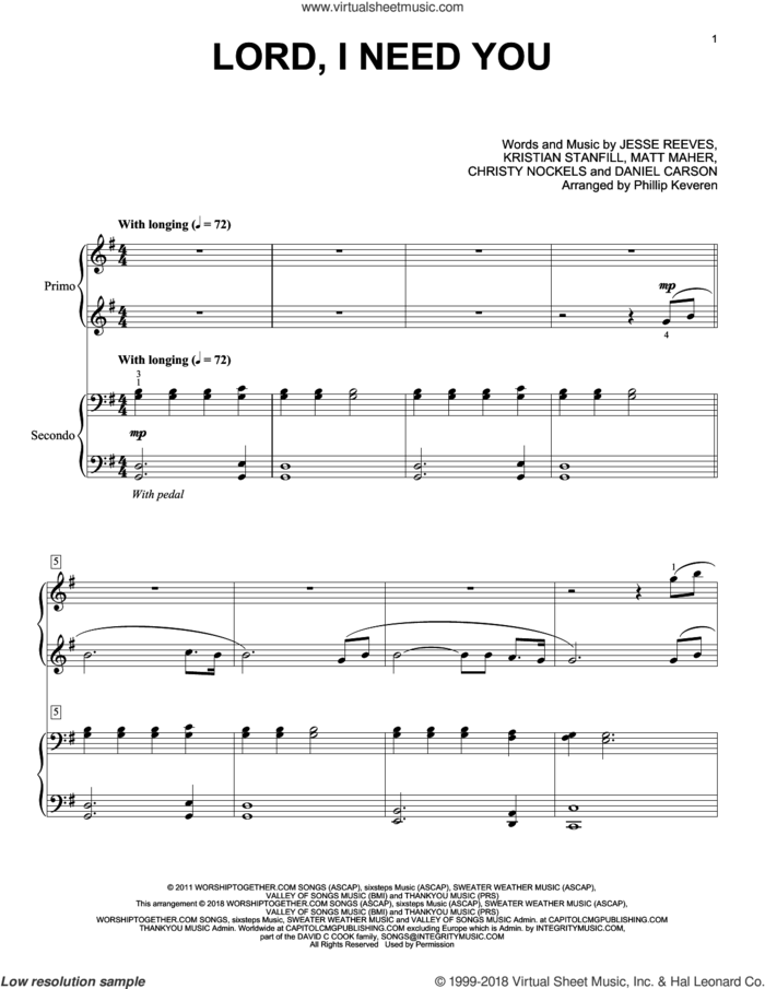 Lord, I Need You (arr. Phillip Keveren) sheet music for piano four hands by Matt Maher, Phillip Keveren, Passion, Christy Nockels, Daniel Carson, Jesse Reeves and Kristian Stanfill, intermediate skill level