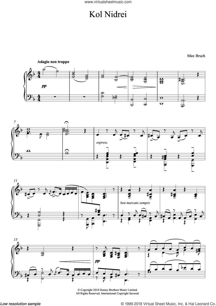 Kol Nidrei, Op. 47 sheet music for piano solo by Max Bruch, classical score, intermediate skill level