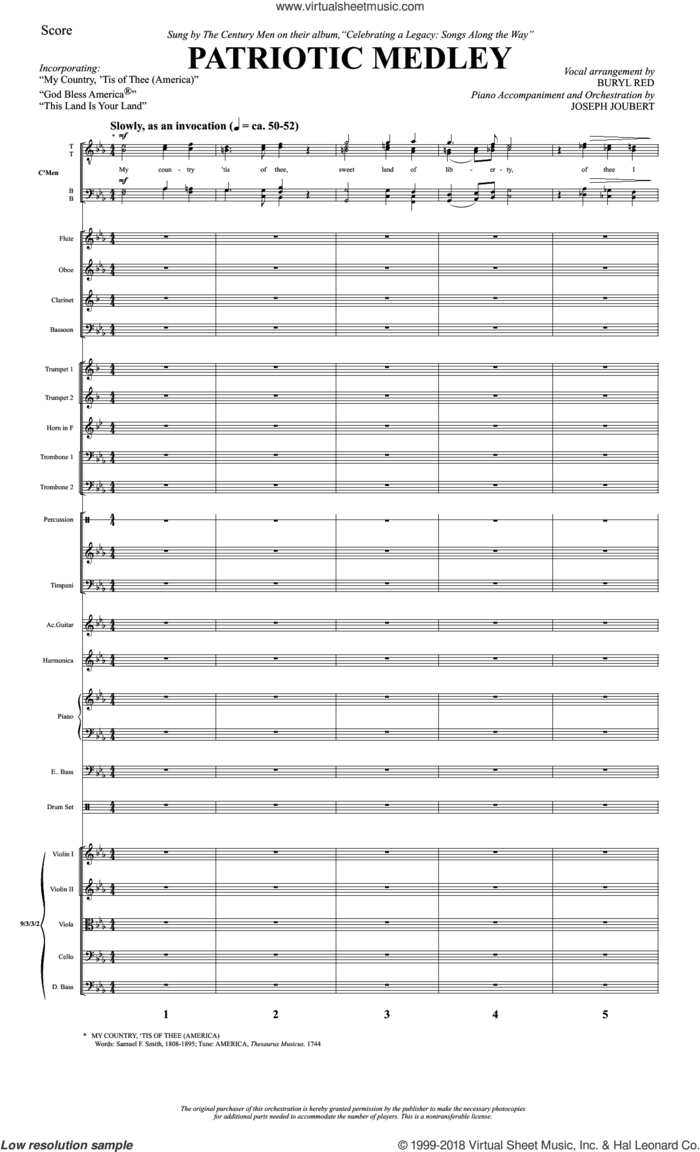 Patriotic Medley (COMPLETE) sheet music for orchestra/band by Samuel Francis Smith, Buryl Red, Joseph Joubert and Thesaurus Musicus, intermediate skill level
