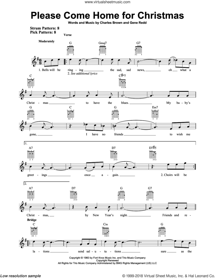 Please Come Home For Christmas sheet music for guitar solo (chords) by Charles Brown and Gene Redd, easy guitar (chords)