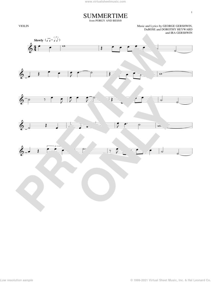 Summertime sheet music for violin solo by George Gershwin, Dorothy Heyward, DuBose Heyward and Ira Gershwin, intermediate skill level