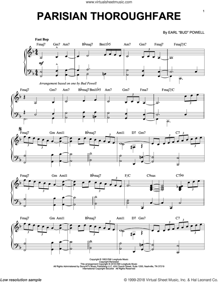 Parisian Thoroughfare sheet music for piano solo by Bud Powell, intermediate skill level