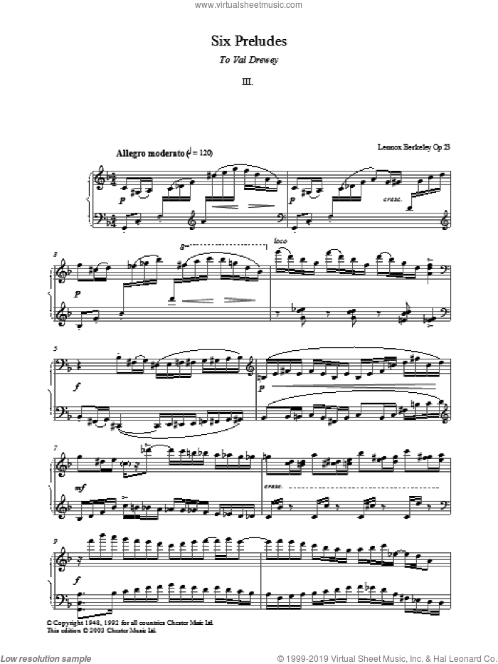 Prelude No. 3 (from Six Preludes) sheet music for piano solo by Lennox Berkeley, classical score, intermediate skill level