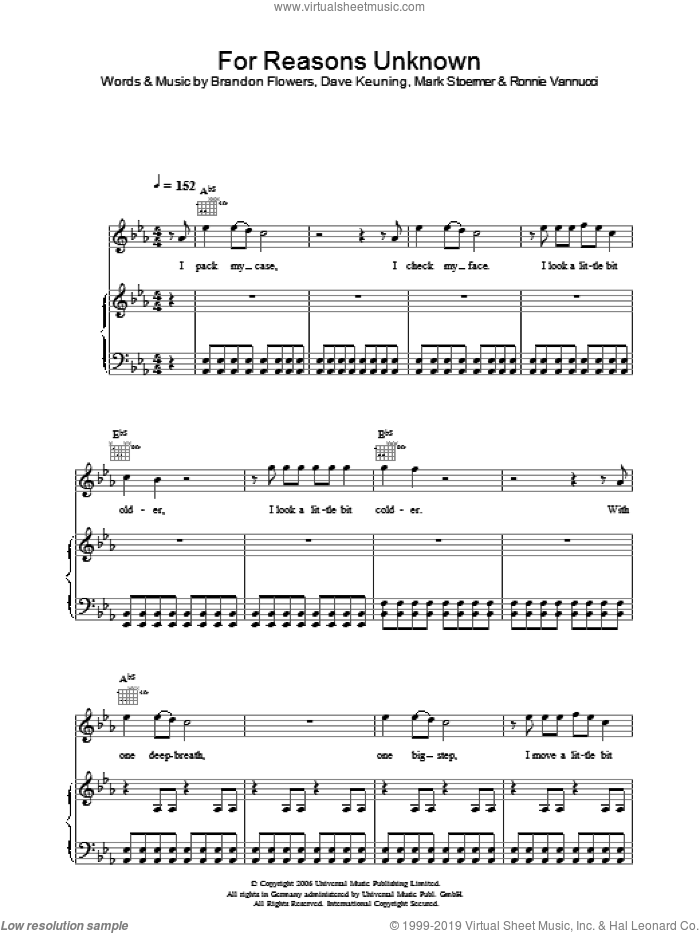 For Reasons Unknown sheet music for voice, piano or guitar by The Killers, Brandon Flowers, Dave Keuning, Mark Stoermer and Ronnie Vannucci, intermediate skill level
