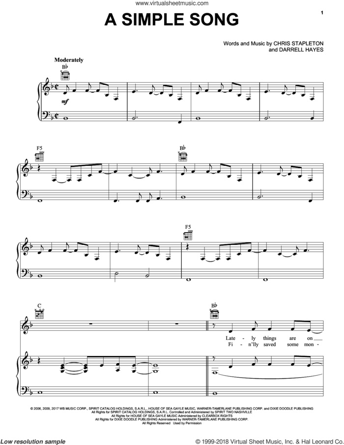 A Simple Song sheet music for voice, piano or guitar by Chris Stapleton and Darrell Hayes, intermediate skill level