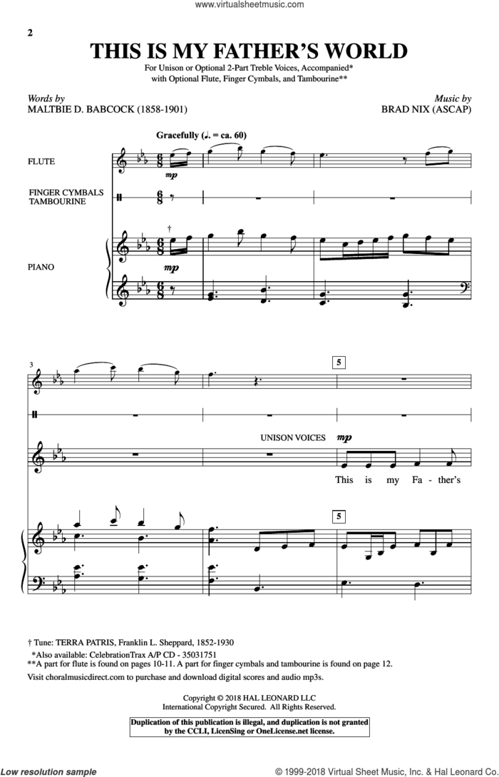 This Is My Father's World sheet music for choir (2-Part) by Brad Nix and Maltbie D. Babcock, intermediate duet