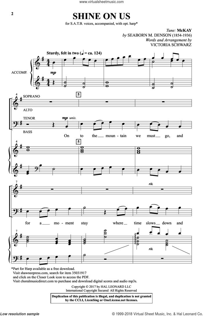 Shine On Us sheet music for choir (SATB: soprano, alto, tenor, bass) by Victoria Schwarz, intermediate skill level