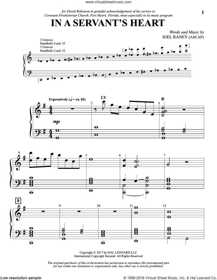 In a Servant's Heart sheet music for orchestra/band (handbells) by Joel Raney, intermediate skill level