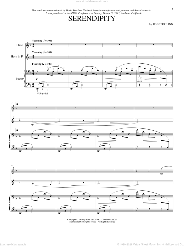 Serendipity sheet music for flute, french horn and piano by Jennifer Linn, classical score, intermediate skill level