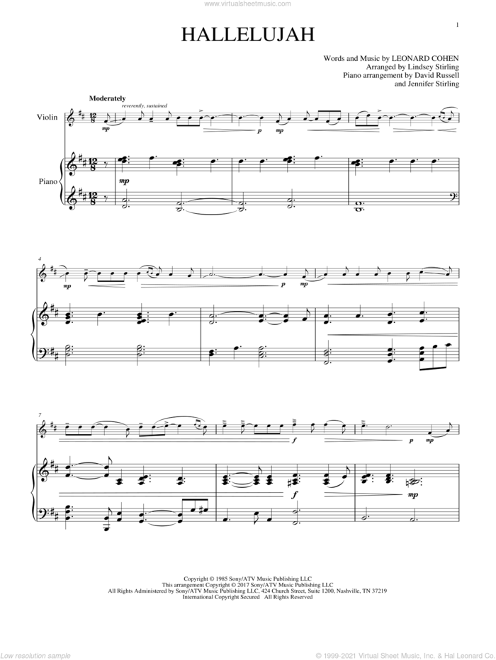 Hallelujah sheet music for violin and piano by Leonard Cohen and Lindsey Stirling, intermediate skill level