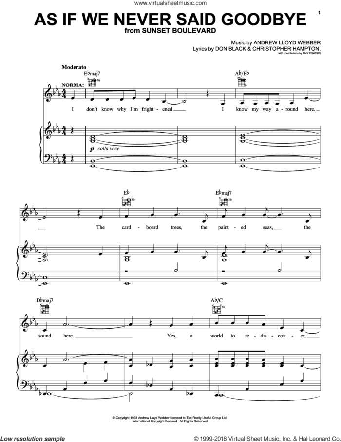 As If We Never Said Goodbye sheet music for voice, piano or guitar by Andrew Lloyd Webber, Sunset Boulevard (Musical), Christopher Hampton and Don Black, intermediate skill level