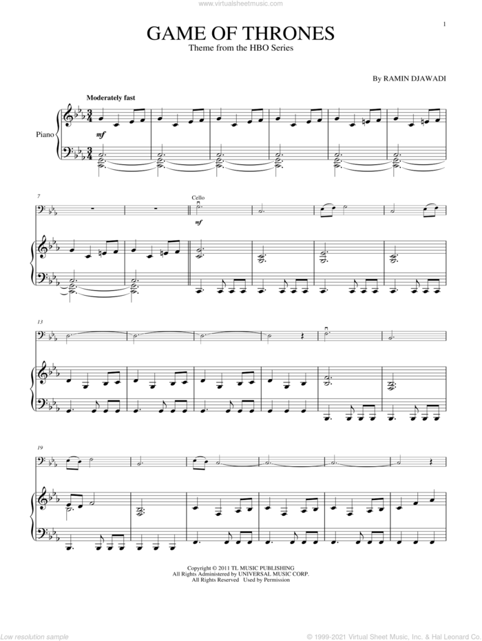 Game Of Thrones - Main Title sheet music for cello and piano by Ramin Djawadi and Game Of Thrones (TV Series), classical score, intermediate skill level