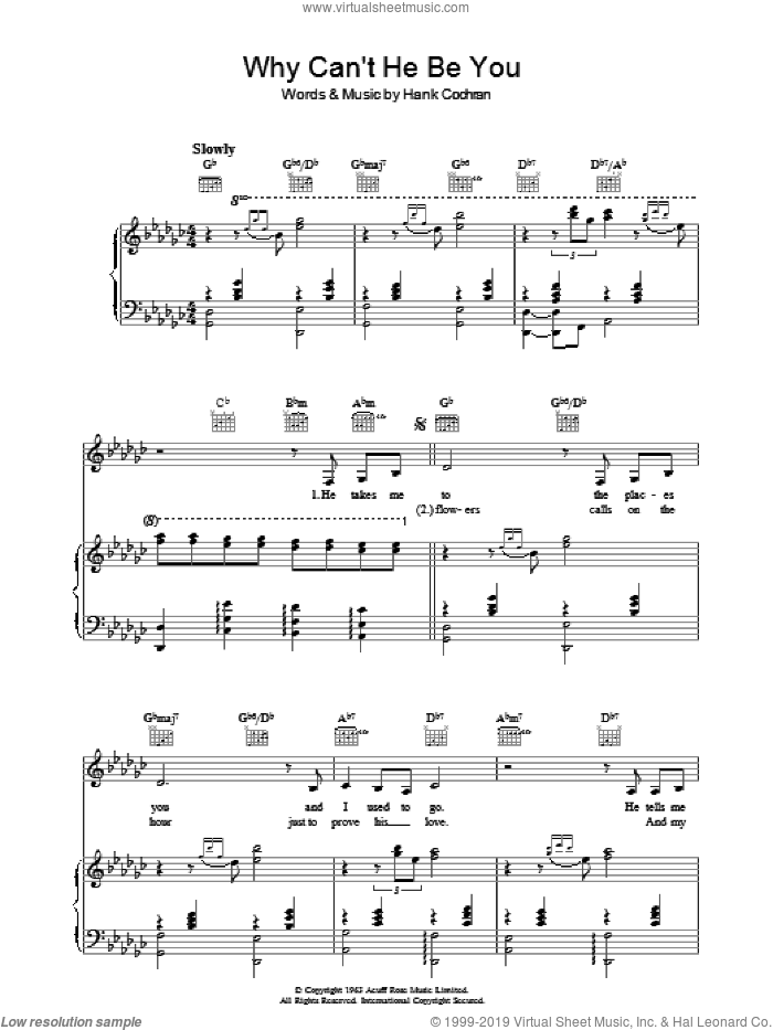 Why Can't He Be You sheet music for voice, piano or guitar by Patsy Cline and Hank Cochran, intermediate skill level