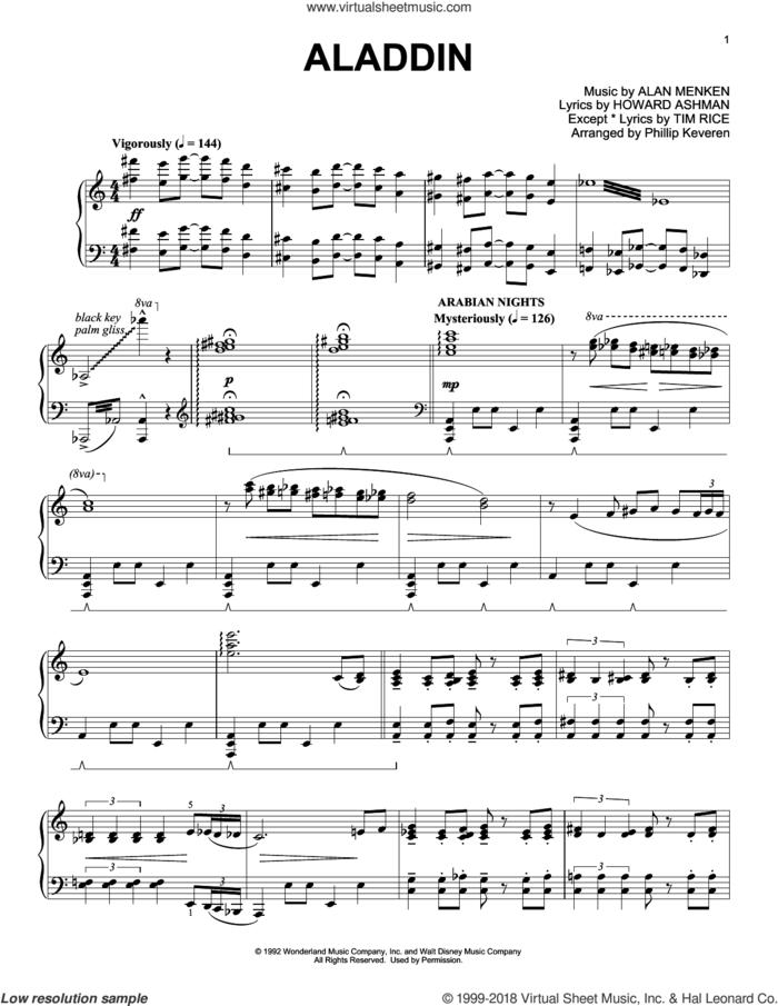 Aladdin Medley (arr. Phillip Keveren) sheet music for piano solo by Alan Menken, Phillip Keveren and Howard Ashman, intermediate skill level
