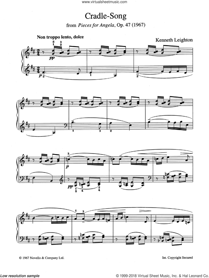 Cradle Song (from Pieces For Angela, Opus 47) sheet music for piano solo by Kenneth Leighton, classical score, intermediate skill level