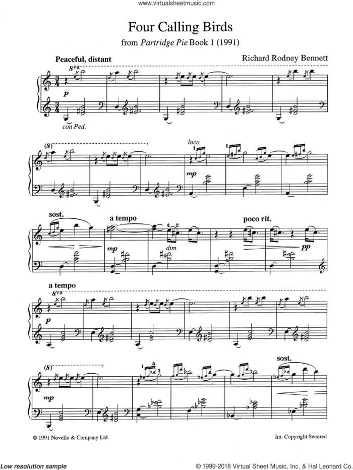 Four Calling Birds (from Partridge Pie Book 1) sheet music for piano solo by Richard Bennett, classical score, intermediate skill level