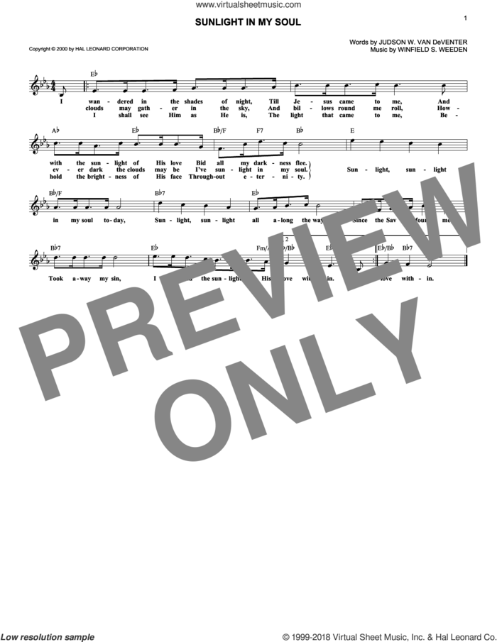 Sunlight In My Soul sheet music for voice and other instruments (fake book) by Judson W. Van De Venter and Winfield S. Weeden, intermediate skill level