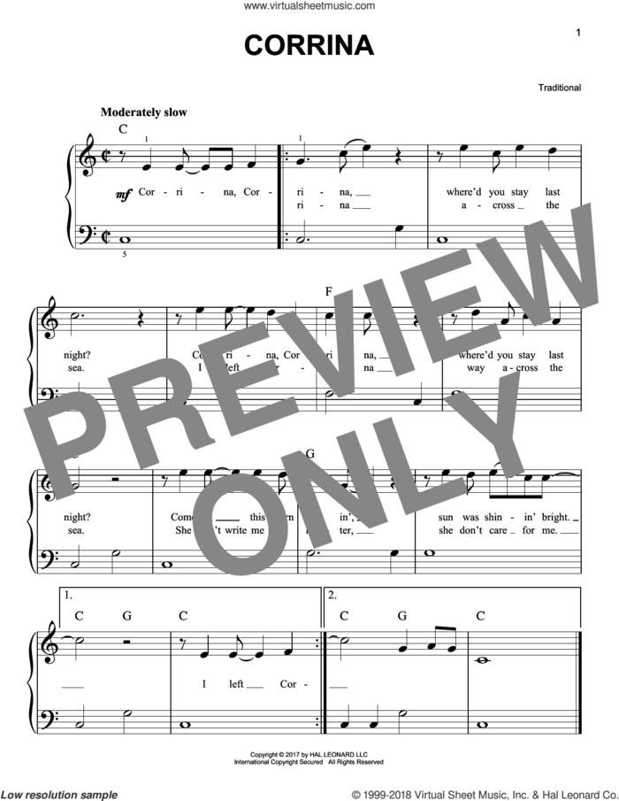Corrina sheet music for piano solo, beginner skill level