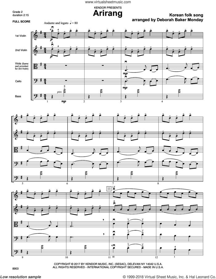 Arirang (COMPLETE) sheet music for orchestra by Deborah Baker Monday and Korean folk song, intermediate skill level