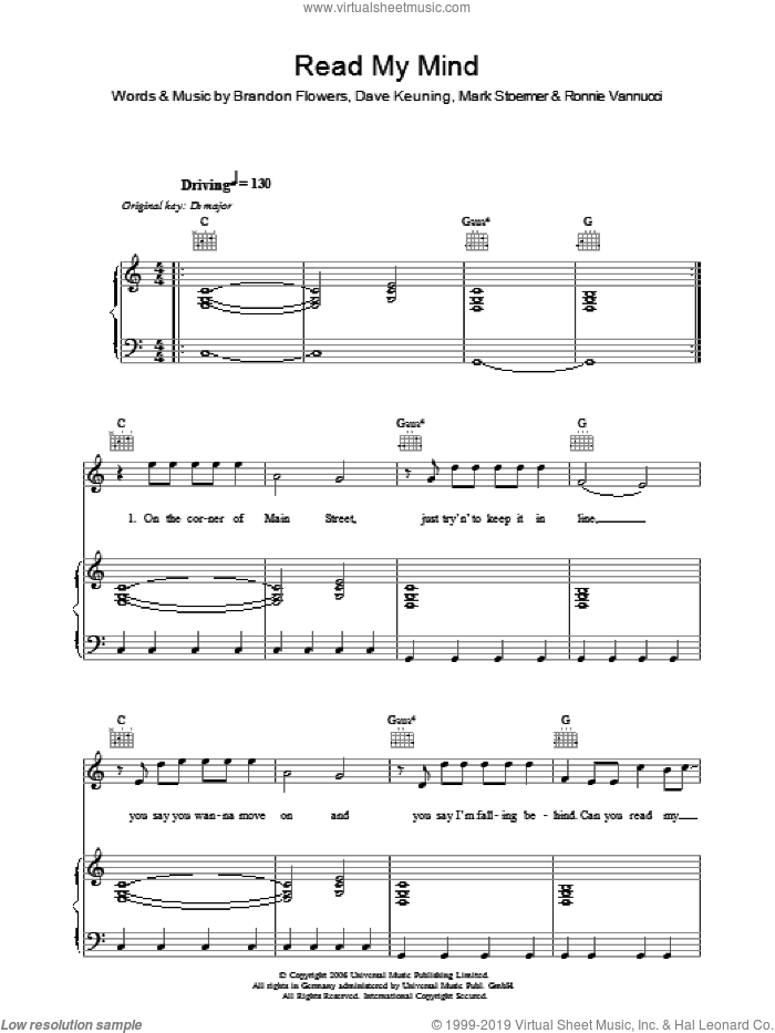 Read My Mind sheet music for voice, piano or guitar by The Killers, Brandon Flowers, Dave Keuning, Mark Stoermer and Ronnie Vannucci, intermediate skill level